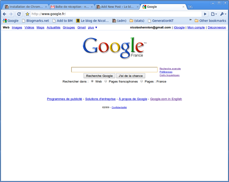 Chromium display Google.fr