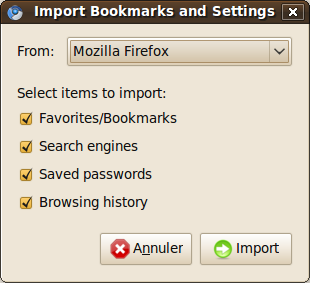 Chromium import Firefox