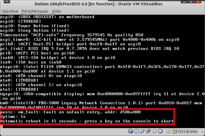 Erreur de démarrage unetbootin Installation par défaut