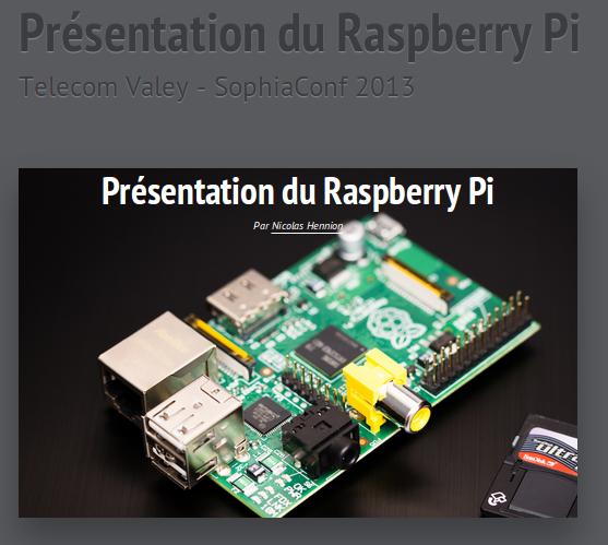 Raspberry - SophiaCOnf 2013